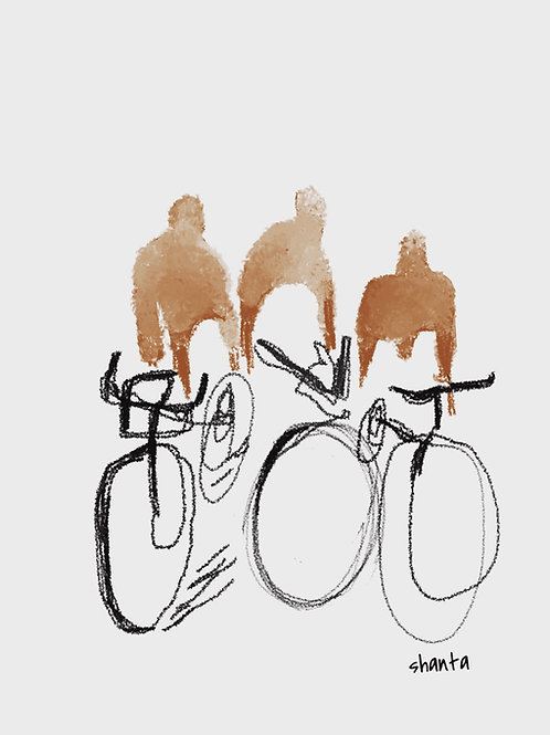 """""""Cyclists"""" - 16x20"""""""
