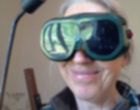Kate behind welding goggles