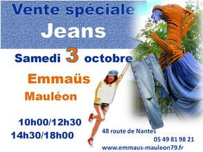 """3 octobre : Vente Spéciale """"Jeans"""""""