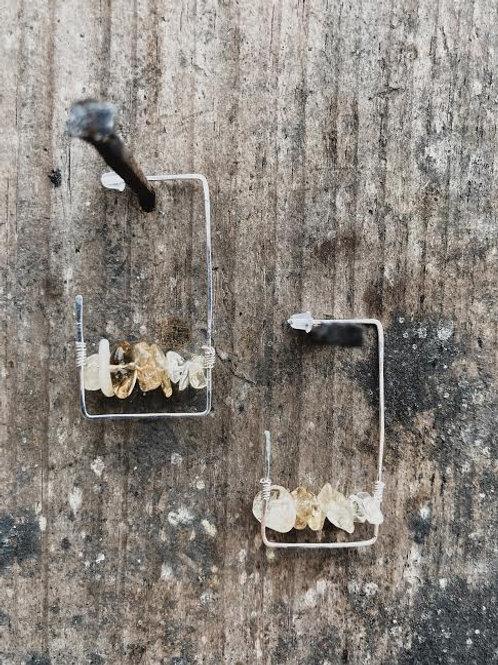 Silver + Stone Rectangle - Citrine