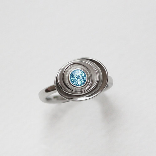 Small Peony ring with Blue Topaz