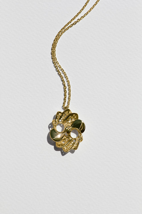 Large Pavo Pendant with 18k gold plate