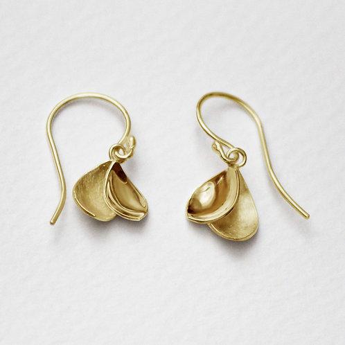 Peony Petal drop earrings with 18k gold plate