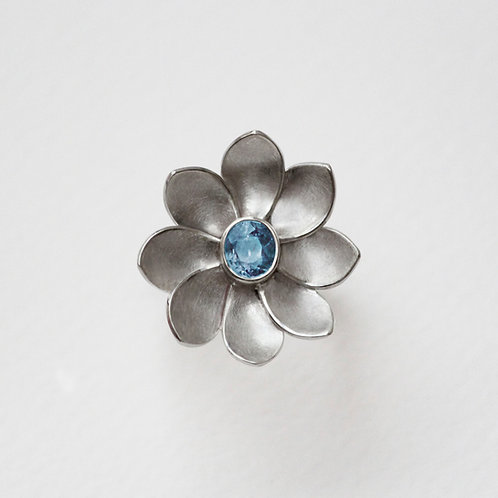 Peony Petal ring with Blue Topaz
