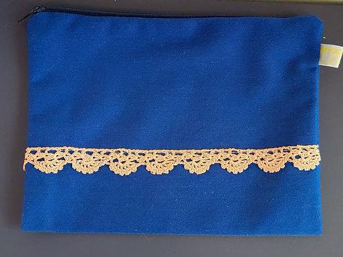 pochette en tissu bleue