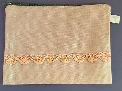 Pochette en tissu beige