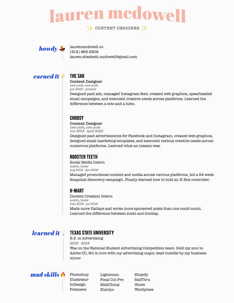 Resume 2020 | Lauren McDowell.jpg
