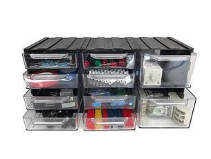 Modułowy organizer elektryka, chowaj.com, przeźroczyste szufladki