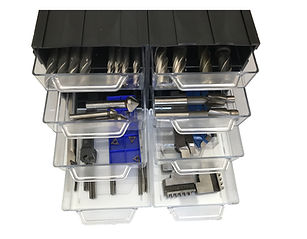 modułowy organizer warsztatowy z szufladkami, przeźroczyste szufladki, organizer frezera, obróbka metali, cnc