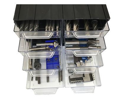 organizer na frezy chowaj.com, modułowy organizer z szufladkami przeźroczystymi