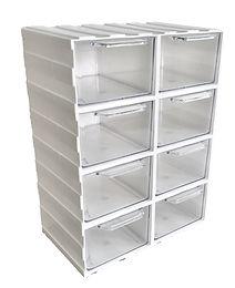 Biały organizer modułowy z szufladkami przeźroczystymi, szufladki przeźroczyste, L8