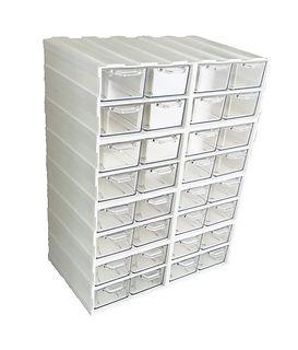 Biały organizer z szufladkami przeżroczystymi, szufladki przeźroczyste do gabinetu, L32