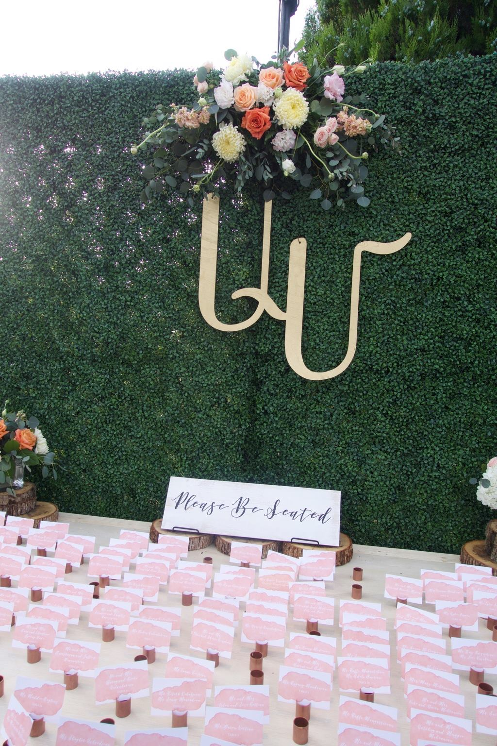 Escort Card Hedge Wall