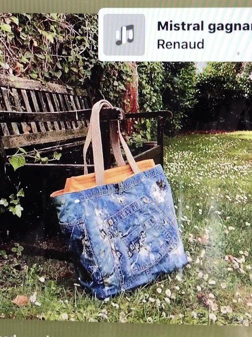 Grand sac-cabas isotherme en toile denim recyclée