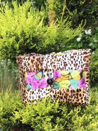Pochette intérieur isotherme en velours éponge imprimé léopard