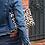 Thumbnail: Pochette isotherme en toile de coton denim et éponge imprimé léopard