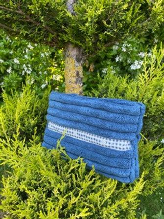 Pochette intérieur isotherme en coton éponge coloris bleu denim