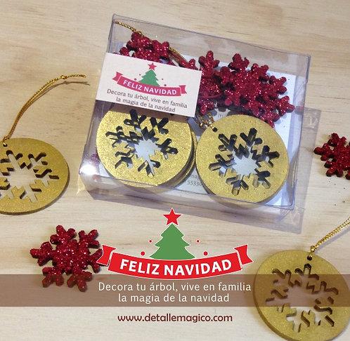 Copos decoración navideña - Dorado & Rojo escarchado