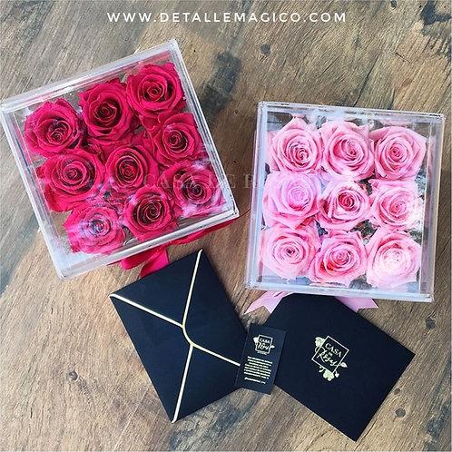 Flores | Rosas Preservadas - Caja en Acrílico x 9, Regalos Enamorados, Flores, rosas, parejas, colombia