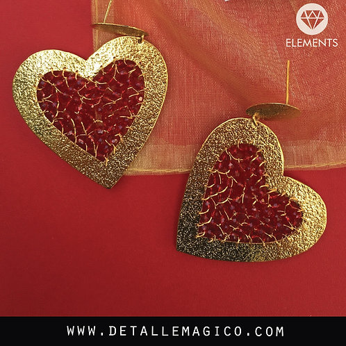 Aretes en forma de Corazon, Joyeria Artesanal, Joyas personalizadas, Joyas artesanales, regalos innovadores, Detalle Magico