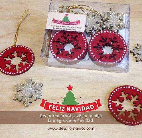 Copos decoración navideña - Rojo & Dorado tornasolado