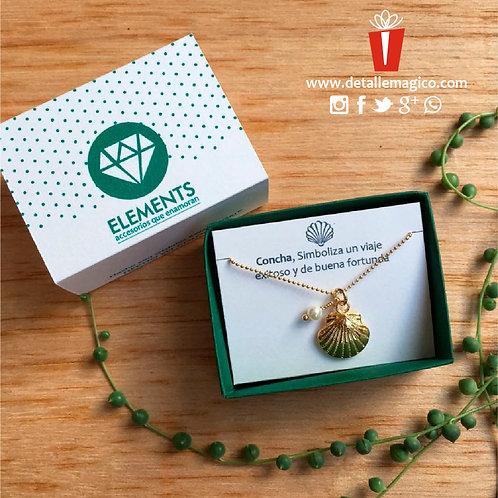 Cadena Perla y concha de mar, regalos exclusivos, Detalle Mágico