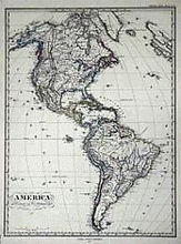 1872 Map of North and South America by Adolph Stielers