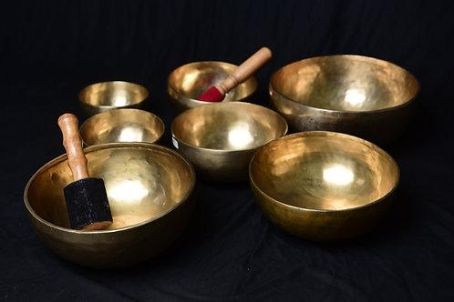 Handmade chakra singing bowls