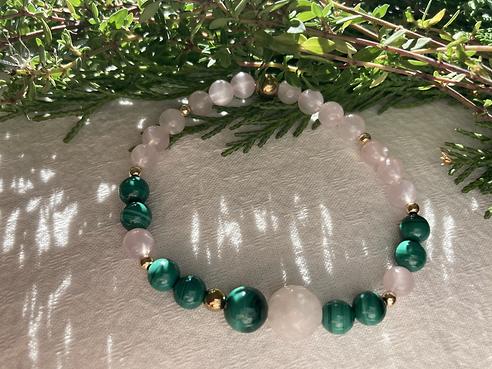 Bracelet quartz rose et malachite.HEIC