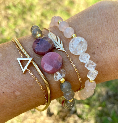 Bracelet Pink Himalaya et Pink Purnima.j