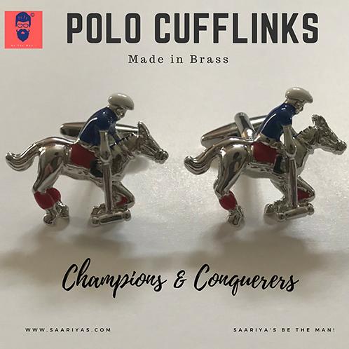 Polo Player Cufflinks 3D Brass by Saariyas