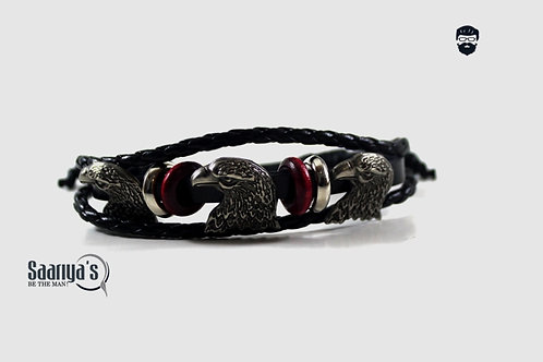 Where Eagles Dare Bracelet Leather and Steel Pendant