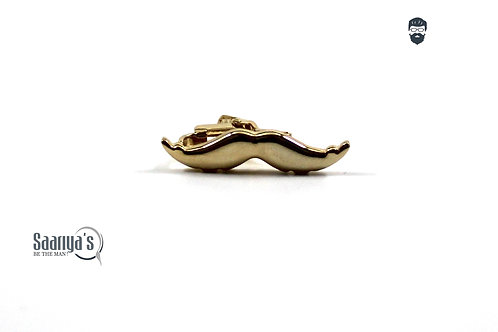 Golden Moustache Tie Clip