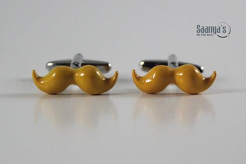 Yellow Moustache Cufflinks