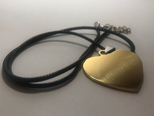 Golden Heart Stainless Steel Tag with Leather Cord