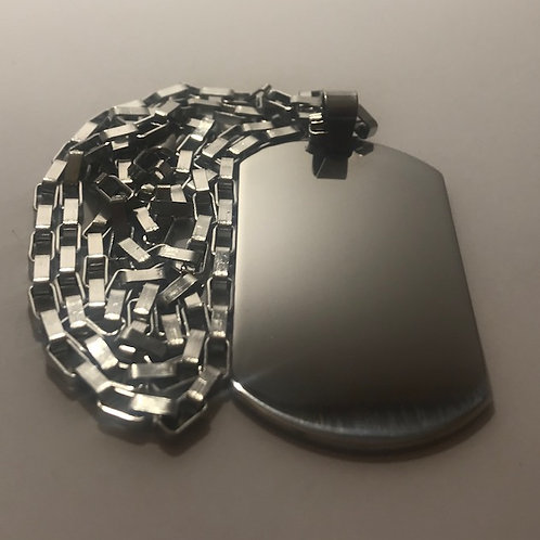 Silver Stainless Steel Tag with Brick Steel Chain