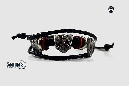 Phoenix Bracelet Leather and Steel Pendant