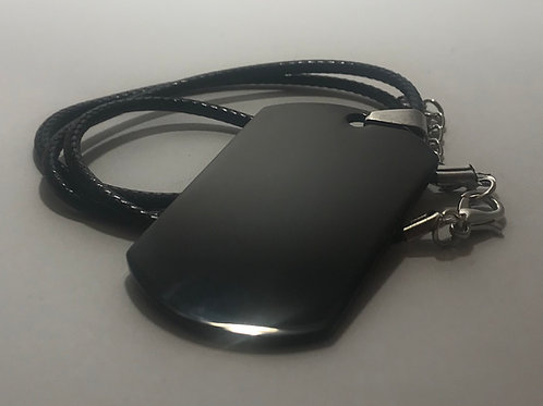 Black Stainless Steel Tag with Leather Cord