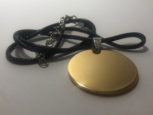Golden Stainless Steel Round Tag with Leather Cord