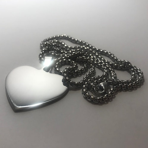 Silver Heart Stainless Steel Tag with Steel Wrap Chain