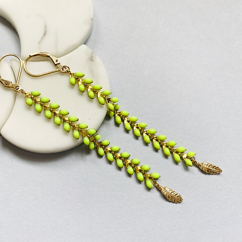 Wisteria Neon Yellow Drop Earrings