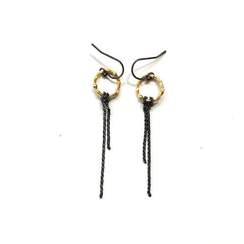 Oxidised Ring Earrings