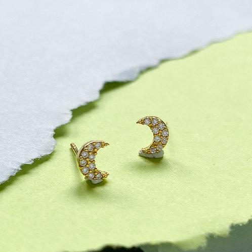Crescent Moon Cubic Zirconia Ministud Earrings