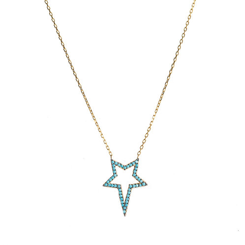 Turquoise Star CZ Necklace