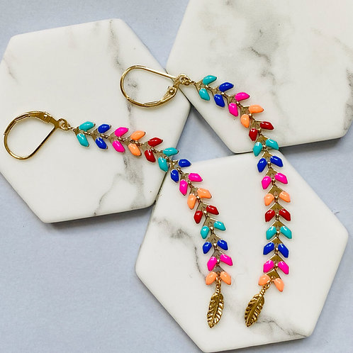 Wisteria Bright Multi Coloured Drop Earrings
