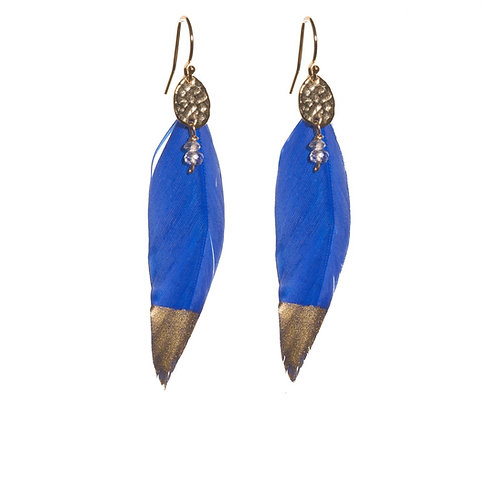 Royal Blue Feather Earrings