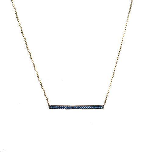 Navy Bar CZ Necklace