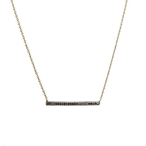 Black Bar CZ Necklace