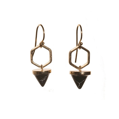 Black Hexagon Cone Earrings