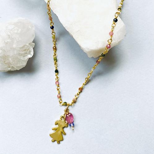Gemstone Necklace with Girl/Boy Charm